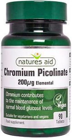 Natures Aid Chromium Picolinate 200ug elemental (Χρώμιο) 90 Ταμπλέτες