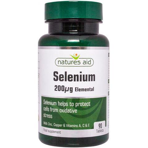 Natures Aid Selenium 200ug (σελήνιο με ψευδάργυρο και βιταμίνες Α, C & E) 90 Ταμπλέτες