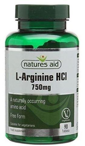Natures Aid L-Arginine HCl 750mg (Αργινίνη) 90 Ταμπλέτες