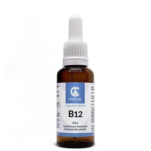 MediCore Λιποσωμιακή Bιταμίνη B12 1000mcg, 30ml Vanilla/Apricot flavor