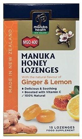 Manuka Health 15 Φυσικές Καραμέλες με μέλι Manuka MGO400+ με Ginger και Φυσικό Άρωμα Λεμονιού, 100g