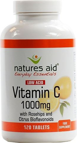 Natures Aid Vitamin C 1000mg Low Acid (with Rosehips & Citrus Bioflavonoids) 120 Ταμπλέτες
