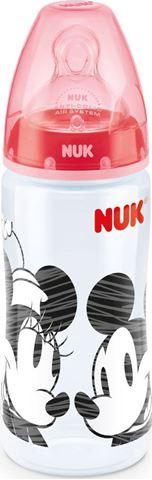 NUK First Choice + Disney Mickey ΡΡ Μπιμπερό 300ml Θηλη Σιλικόνης Μεγέθους 2, 6-18 Κόκκινο