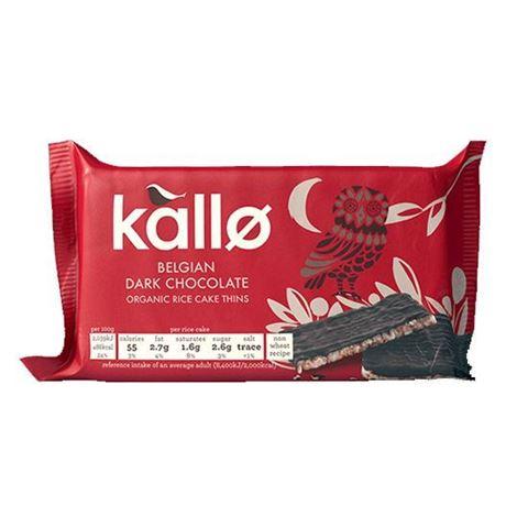 Kallo Λεπτές Ρυζογκοφρέτες με Μαύρη Βέλγικη Σοκολάτα Γάλακτος 90γρ