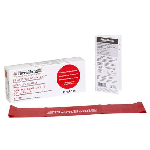 TheraBand Professional Resistance Mini Band, Θηλιά Medium / Red 7,6 x 45,5cm