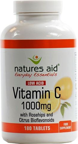 Natures Aid 13240 Vitamin C 1000mg Low Acid (with Rosehips & Citrus Bioflavonoids) 180 Tabs
