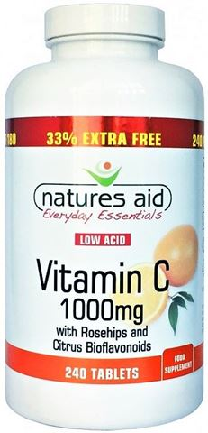Natures Aid Vitamin C 1000mg Low Acid (with Rosehips & Citrus Bioflavonoids) 240 Ταμπλέτες