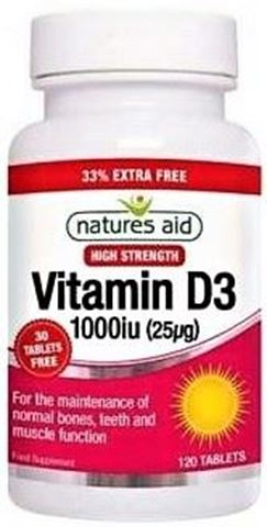 Natures Aid Vitamin D3 1000iu (25μg) 120 Ταμπλέτες