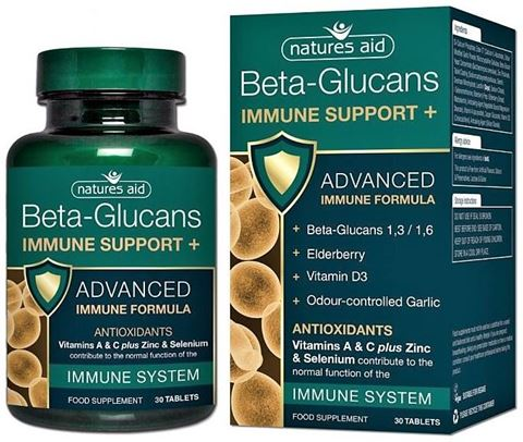 Natures Aid  Immune Support + with Beta-Glucans, Ester-C® and Elderberry - 30 Ταμπλέτες