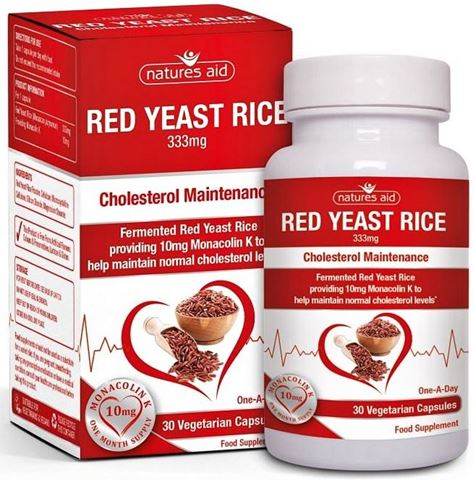 Natures Aid Red Yeast Rice (Providing 10mg Monacolin K) - 30 Φυτικές Κάψουλες