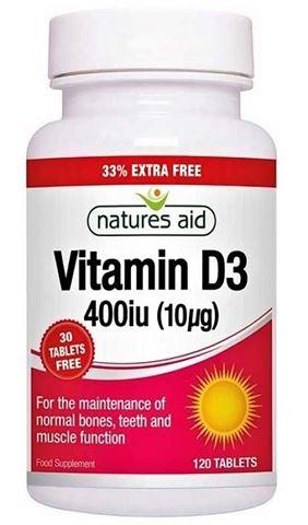 Natures Aid Vitamin D3 400iu (10u g) - 120 Ταμπλέτες