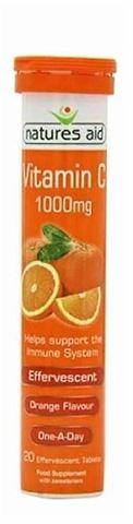 Natures Aid Vitamin C 1000mg Effervescent (Orange Flavour) - 20 Αναβράζουσες Ταμπλέτες