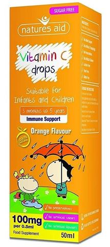 Natures Aid Vitamin C 100mg Mini Drops for infants & children (3 months - 5 years) - 50ml