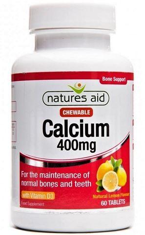 Natures Aid Calcium (Chewable) με Φυσική γεύση Λεμόνι - 400mg 60 Μασώμενες Ταμπλέτες