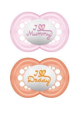 Mam love Mummy/Daddy Θηλή Σιλικόνη 265s, 16+ Μηνών, Για Κορίτσι Συσκευασία των 2 Τεμαχίων
