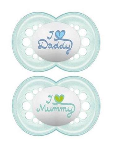 Mam love Mummy/Daddy Θηλή Σιλικόνη 265s, 16+ Μηνών, Γαλάζιο Συσκευασία των 2 Τεμαχίων