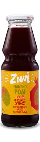 Ζωή Φυσικός Χυμός Μάνγκο - Ρόδι Μη Συμπυκνωμένος, Χωρίς Ζάχαρη 250ml