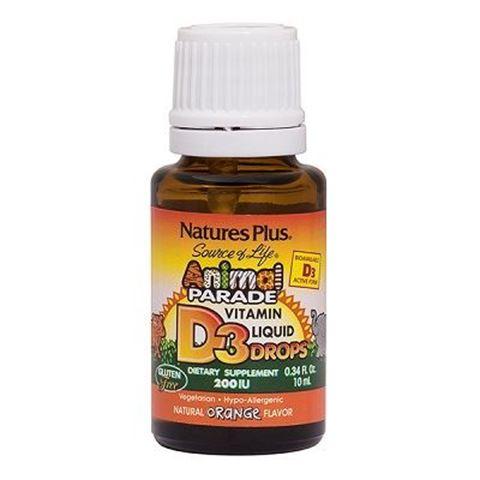 Nature's Plus Animal Parade Vitamin D3 200 IU υγρές σταγόνες - γεύση πορτοκάλι, 10ml
