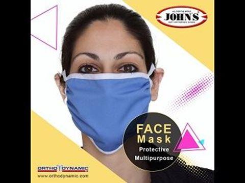 John's Μάσκα Προσώπου Προστατευτική Πολλαπλών Χρήσεων, One Size, 12530