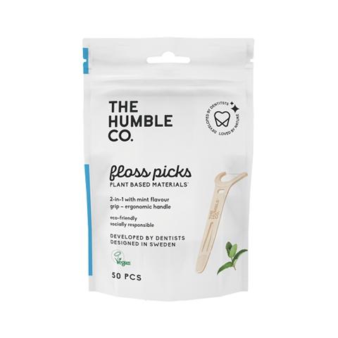The Humble Co. Dental Floss Picks Grip Handle - 50-P