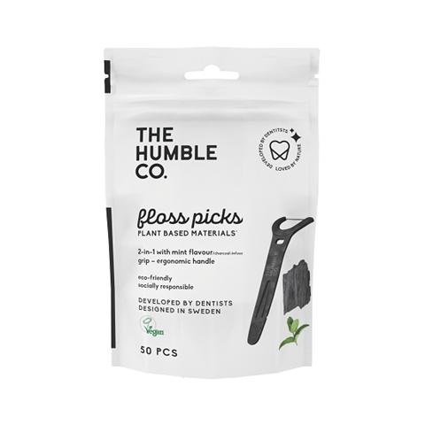 The Humble Co. Dental Floss Charcoal Picks Grip Handle - 50-P