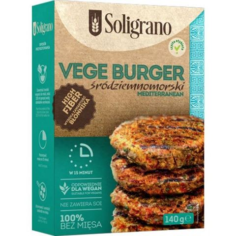 Soligrano Vege Burger Μεσογειακό Μπιφτέκι Για Χορτοφάγους 140gr