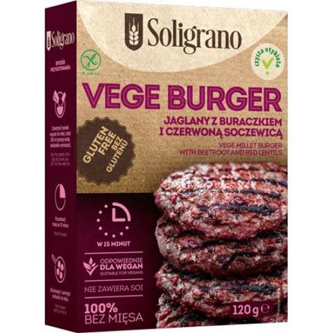 Soligrano Vege Burger Μπιφτέκι με Παντζάρι και Κόκκινες Φακές Για Χορτοφάγους 140gr