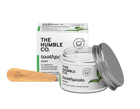 The Humble Co. Φυσική Οδοντόκρεμα σε γυάλινο βάζο με σπάτουλα - Fresh Mint 50ml