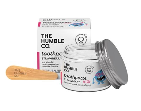 The Humble Co. Φυσική Οδοντόκρεμα σε γυάλινο βάζο με σπάτουλα - Strawberry Kids, 50ml