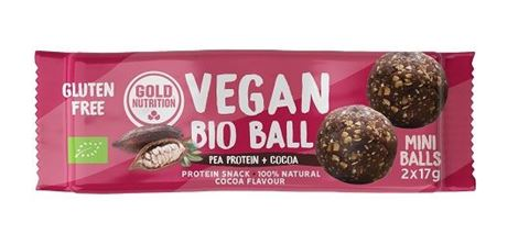 Gold Nutrition Vegan Bio Ball Energy Pea Protein and Cocoa 2x17gr