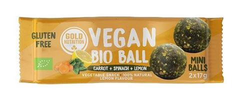 Gold Nutrition Vegan Bio Ball Energy Lemon Spinach and Carrot 2x17gr