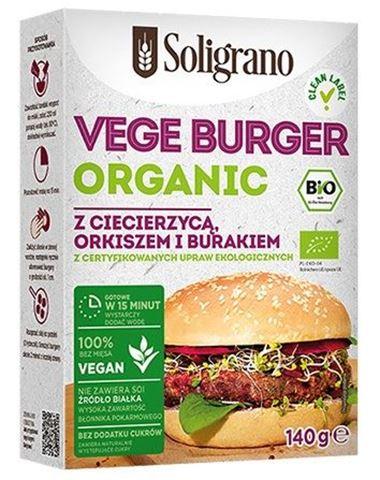 Soligrano Vege Burger Organic με Ρεβύθια, Παντζάρι και Αλεύρι Ντίνκελ 140gr