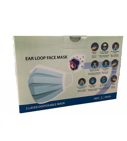 POLI-Mey Med Μάσκα Προσώπου Προστατευτική μιας χρήσης 3 Στρωμάτων, Box 50τμχ