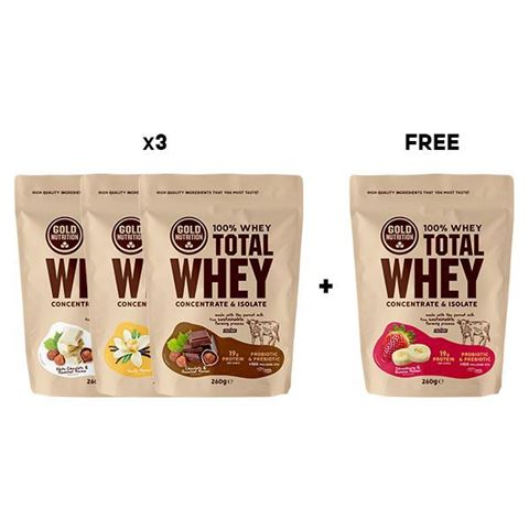 Gold Nutrition Total Whey Discovery Pack 3+1 free