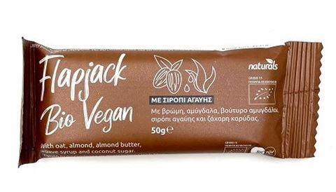 Flapjack Bio Vegan Μπάρα βρώμης με Αμύγδαλα & Σιρόπι Αγαύης, 50g