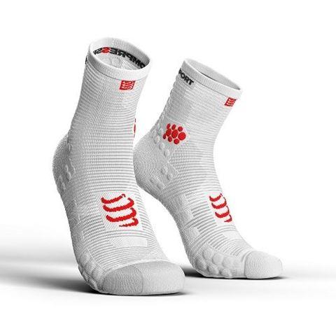 CompresSport V3.0 SMART PRO Racing Socks, Τ1 / 35-38, HI CUT, Άσπρο