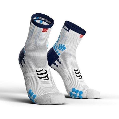 CompresSport V3.0 SMART PRO Racing Socks, Τ3 / 42-44, HI CUT, Άσπρο-Μπλε