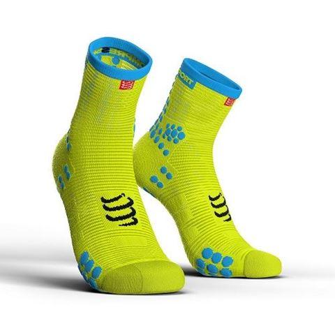 CompresSport V3.0 SMART PRO Racing Socks, Τ2 / 39-41, HI CUT, Fluo Κίτρινη