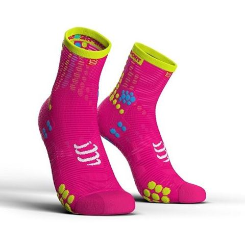 CompresSport V3.0 SMART PRO Racing Socks, Τ2 / 39-41, HI CUT, Fluo Ροζ